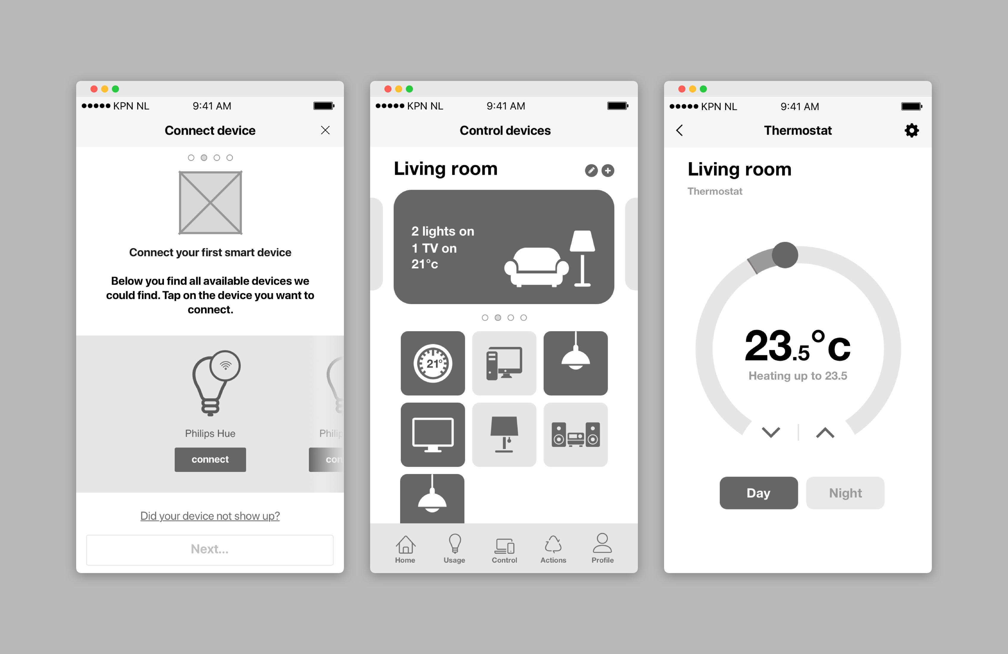 Lo-fi screen designs TakeControl